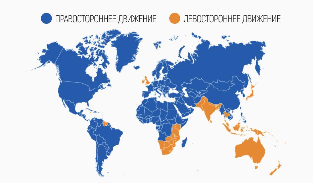 Карта правостороннего и левостороннего движения в мире
